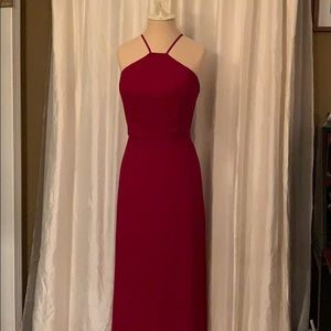 Levkoff red bridesmaid dress floor length gown 6/8